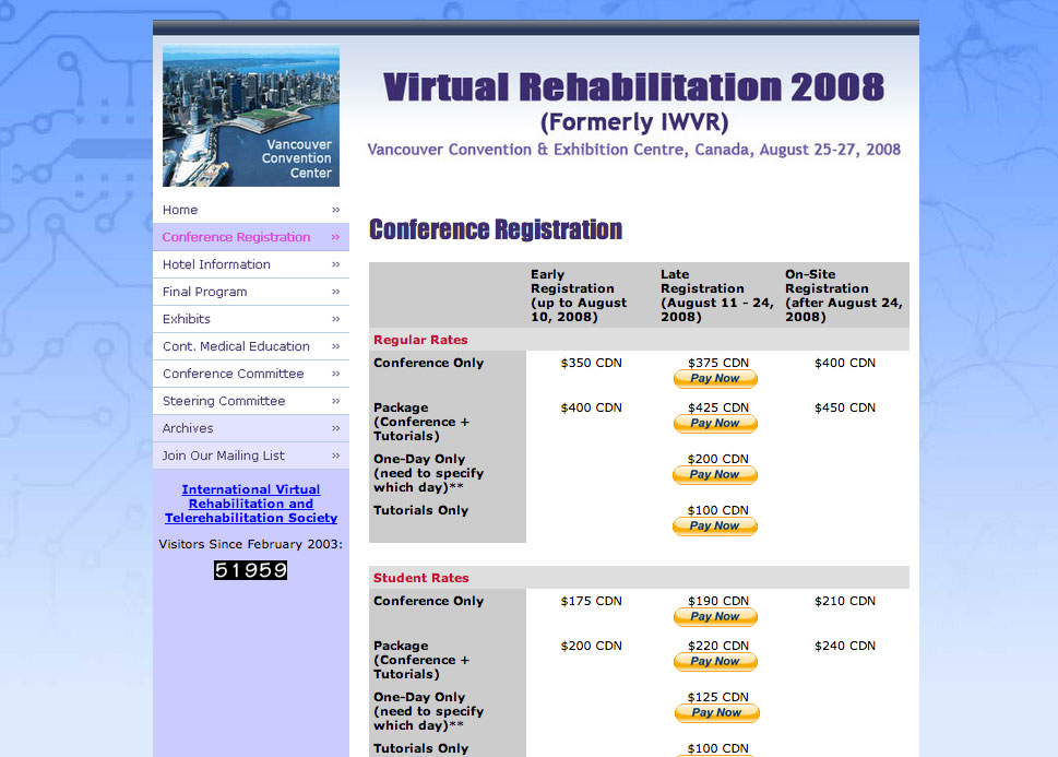 (2007) Virtual Rehabilitation 2008 Conference Site