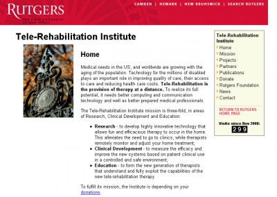 (2008) Rutgers Tele-Rehabilitation Institute Website