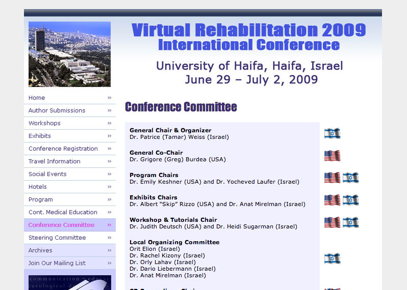 (2008) Virtual-Rehabilitation 2009 Conference Site