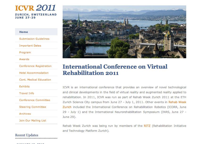(2010) International Conference on Virtual Rehabilitation Website