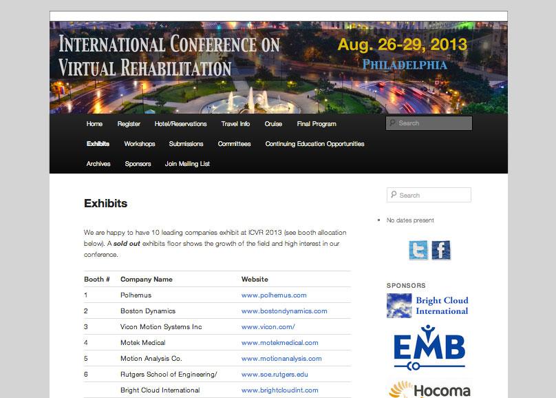 (2012) Virtual-Rehabilitation 2013 Conference Site